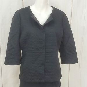 Ann Taylor Quilted Jacket Black Coat Cardigan 14